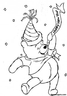 Winnie the Pooh in new year coloring page
