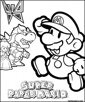 Coloring pages Spuer mario Bowser and Princess Toadstool