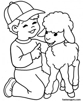 printable farm lamb and boy coloring page - Coloring For Boy