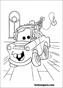 Disney Tow Mater  print out Coloring Pages