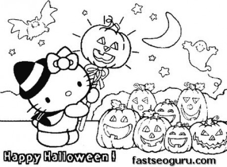 Printable hello kitty Halloween with pumpkins coloring page ...