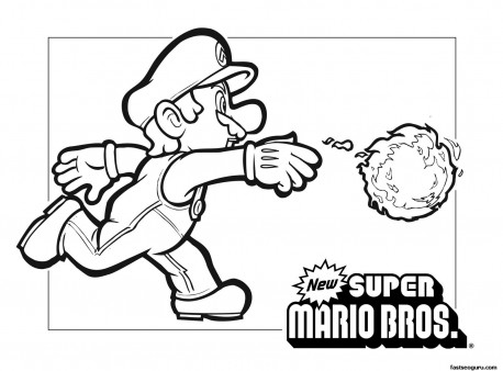 Print out Coloring page Mario