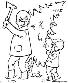 Printable coloring pages of Christmas Decorating the Tree