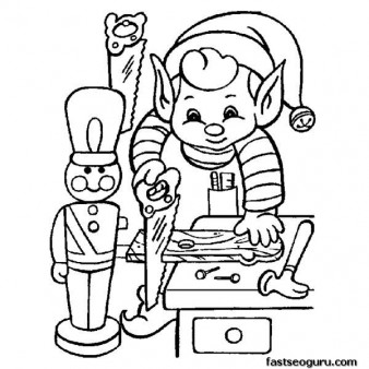 Printable coloring pages of Elf making Christmas toy for children