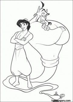 Printable Aladdin and Djinni of the lamp coloring page