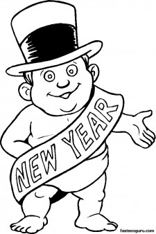 Printable Coloring Pages New Year Baby Printable