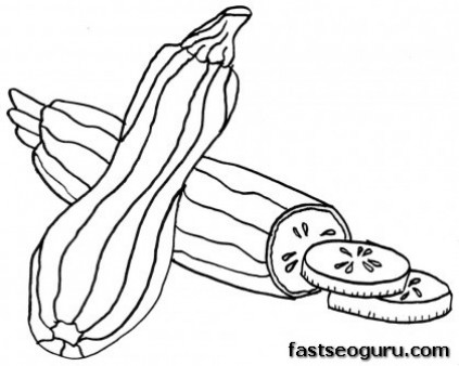 Printable Vegetable Zucchini Coloring Pages