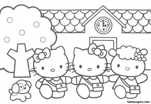 hello kitty friends printable coloring pages - Cartoon Coloring Pages Printables