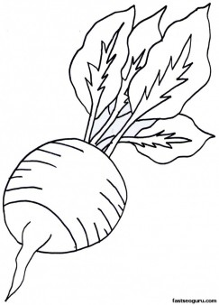 Printable Vegetable Radish Coloring Page