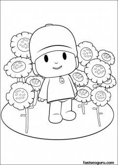 Printable coloring pages for kids Pocoyo with flowers