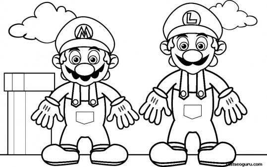Printable Coloring pages Super Mario and Luigi