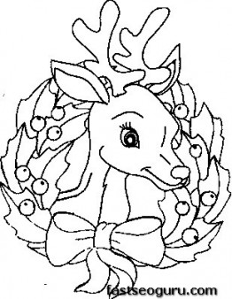 Printable Coloring Pages Of Christmas Reindeer Face