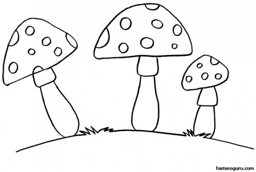 Free Printable Vegetable Mushrooms Coloring Pages for kids