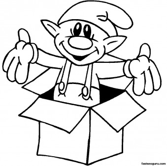 Printable coloring pages of christmas Elf In Box for kids