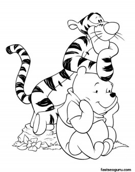 Printable coloring pages Winnie the Pooh and tigger