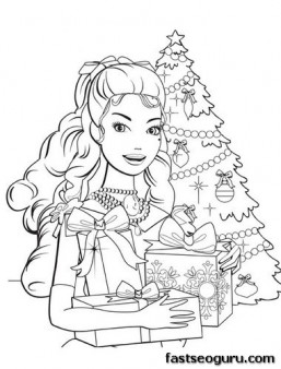 Printable barbie girl with Christmas tree and gifts coloring pages