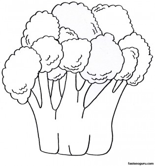 Printable Vegetable Broccoli Coloring Pages