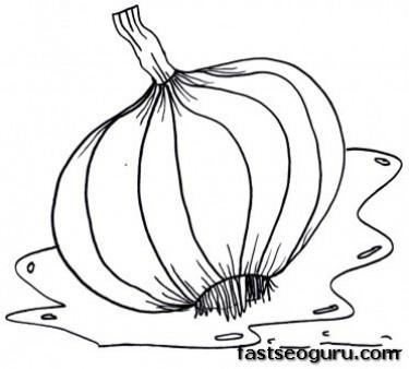 Printable Vegetable Garlic Coloring Page