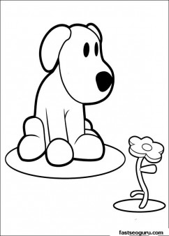 Printable coloring pages pocoyo Loula playing with flower
