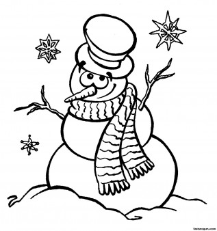 Printable coloring sheet snowman near Christmas