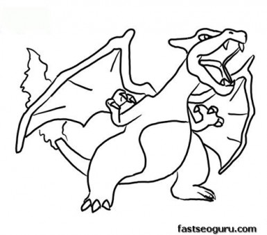 printable charizard coloring page
