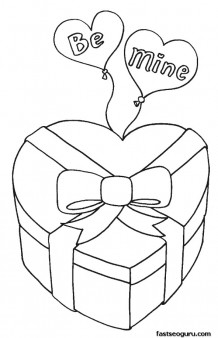 Valentine Candy Box Coloring Page Printable Coloring