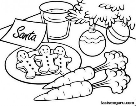 printable christmas gingerbread cookies for santa coloring pages - Christmas Print Coloring Pages