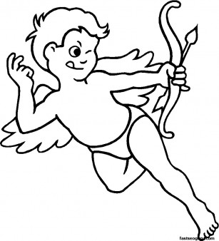 Valentines Day Cupid With Bow And Arrow Coloring Page