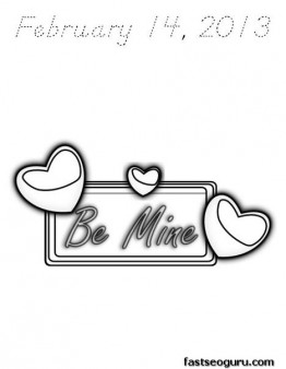 Printable Happy Valentines Day february 14 2013 coloring page
