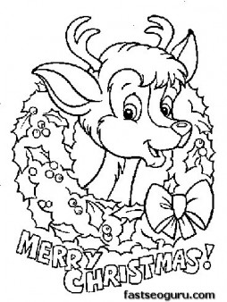 Printable coloring pages of Merry christmas Reindeer baby ...