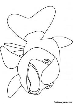 Printable ocean bigmouth fish coloring page