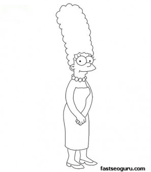 Printable Marge Simpson Coloring Page