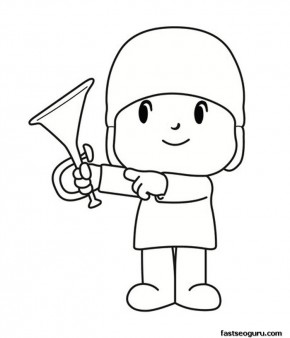 Printable coloring pages Pocoyo with a trumpet