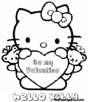 Printable valentines day hello kitty be my valentine for Free valentine coloring pages for kids