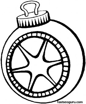 A bauble decorating a Christmas tree coloring page