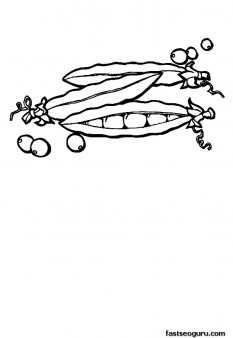 Print out vegetable Peas coloring page