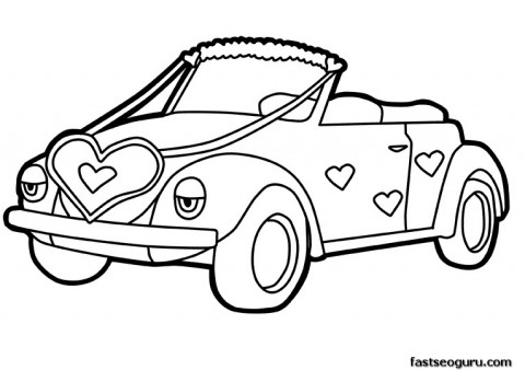 Printable cute car decorations with Hearts Valentines Day coloring pages