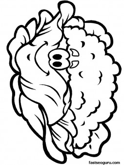 Printable vegetable Happy face Cauliflower  coloring page