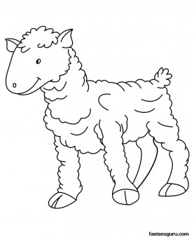 Printable Farm animal Baby sheep Coloring page for kids