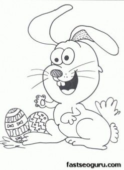 Printable Easter eggs and happy bunny coloring page