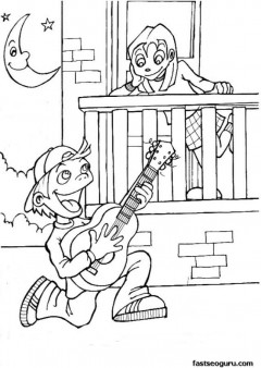 Printable valentine day Boy singing a love song coloring page