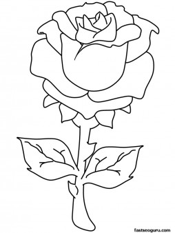 Printable Valentines Day Rose coloring pages