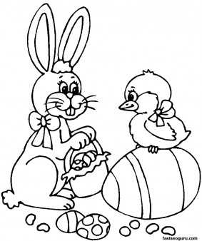 PrintableEaster Bunny With Basket And Chick Coloring Page