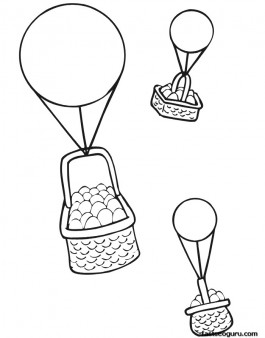 Printable Easter baskets carried on balloons coloring page