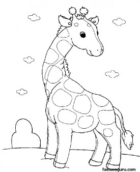 Printable Baby animals Giraffe Pair coloring pages
