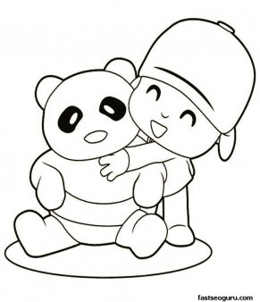 Printable coloring sheet characters Pocoyo and a bear panda