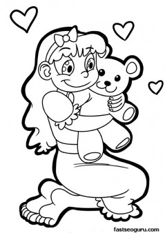 Printable Valentines Day girl with a cute teddy bear
