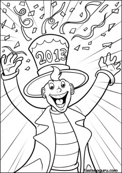 Printable Man celebrating new year 2013 coloring page for kids