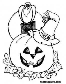 Halloween coloring page for kids printable