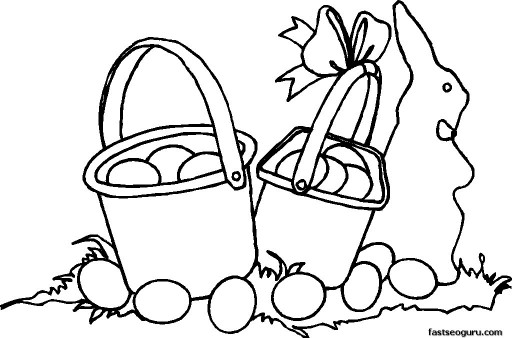 Printable Two Easter Baskets Coloring Pages